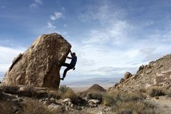 Rock Climbing Photo: Bouldering high above the emptyness, Lone Mountain
