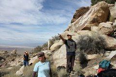Rock Climbing Photo: Kelly giving beta, Lone Mountain