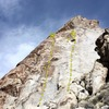 East face of the Tear Drop, Lone Mountain<br> <br> A. My Big Horn (5.10c)<br> B. Sphincter Shrinker (5.11c)