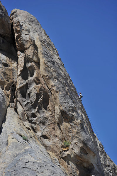 Five-year-old Wesley Fienup climbs Rotten Bananas, on the Tall Wall in the Alabama Hills.