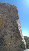 Rock Climbing Photo: The base start of the route.  Move up and right ar...
