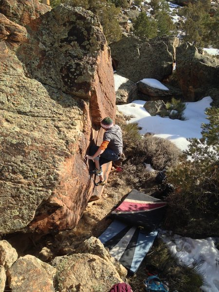 Rock Climbing Photo: Working through the middle of the problem.