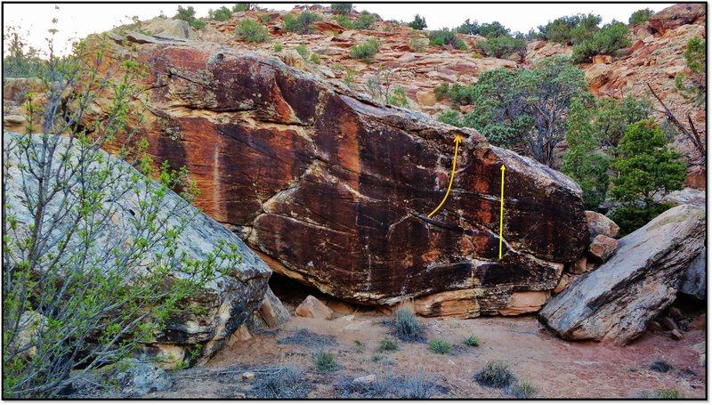 Rock Climbing Photo: Horn of Haradrim problem beta in orange. The start...