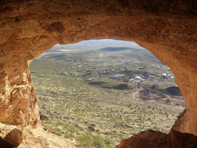 Looking out of the cave. You can see my van parked in the dirt circle.