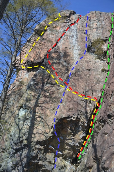 South end of Dream Weaver Wall. Immediately Left of the Right Wing wall. Yellow is Great Expectations. Red is Locomotive Breath. Blue is Tiptoe. Green is Herbarium.