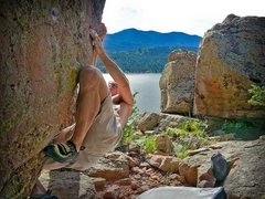 Rock Climbing Photo: Pocket Wall - sit-side start into V5 dihedral.