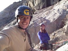 Rock Climbing Photo: At the top of the 3rd pitch! Great leading for Jor...