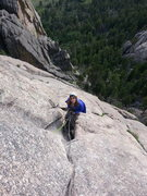 Rock Climbing Photo: Great belay in that triangular alcove.