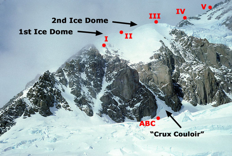 Overview of the West Rib from below, showing our camps (including Camp V at about 16,500 feet).