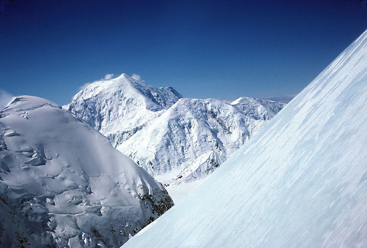 A fine view of Mt. Foraker from the slopes of the 1st ice dome