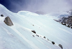 Rock Climbing Photo: Looking up at the 1st ice dome (upper left) and 2n...