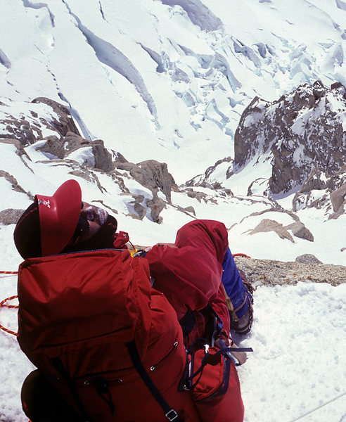 At the top of the couloir