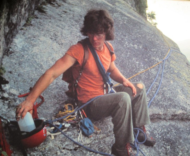 1975 Doug Madara On the FA of King Crab. Tea break on the ledge above The Warlock