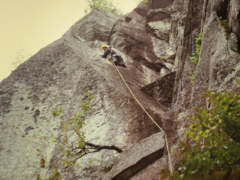 Rock Climbing Photo: Barber on P3 of The Pendulum FA The Big Plum. 1973