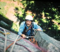 Rock Climbing Photo: Bill Aughton on the FA of The Warlock. 1972