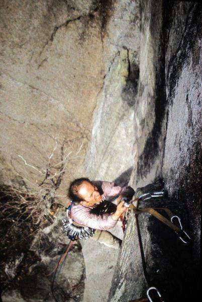 Rock Climbing Photo: Joe Cote following P2 FA. Mines of Moria !972
