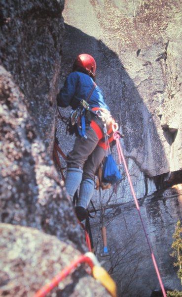 Rock Climbing Photo: P.Ross on FA .The Prow 1972
