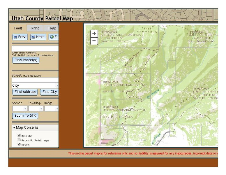 Rock Climbing Photo: PDF view of the parcel map