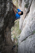 Rock Climbing Photo: Chris cruising the redpoint crux of Gravy Train on...