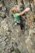 Rock Climbing Photo: Robyn on the stellar Mirthmobile. Gym-like jugs.