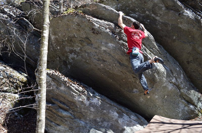 Rock Climbing Photo: Parlier on the FA of Triple Sec. The bigger block ...