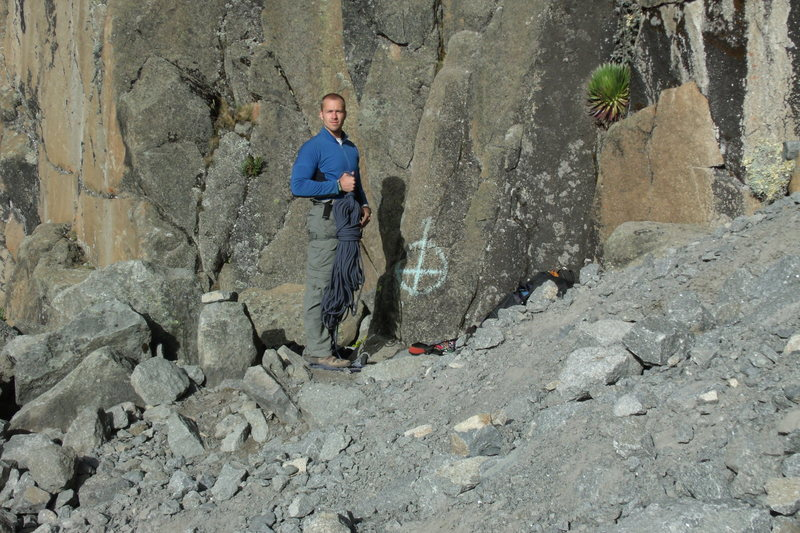 Rock Climbing Photo: The start of the North Face Standard route is mark...
