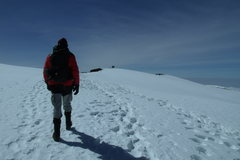 Rock Climbing Photo: Approaching the summit (with the sign ahead in the...