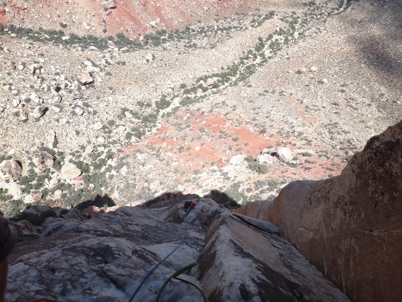 Rock Climbing Photo: nice exposure near the top of third pitch