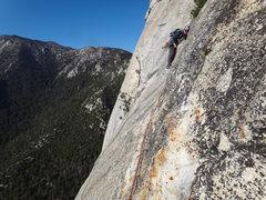 Rock Climbing Photo: Last pitch traverse near the top.. don't fall!!