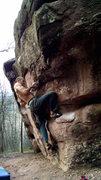 Rock Climbing Photo: Crux undercling/pinch.