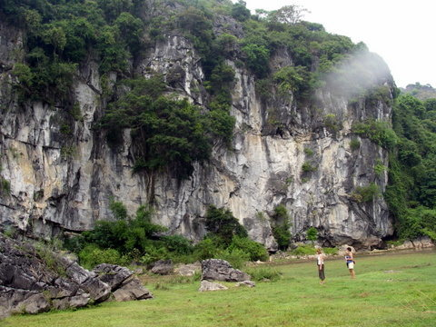 Hiking to the crag on Cat Ba Island in Ho Long Bay.