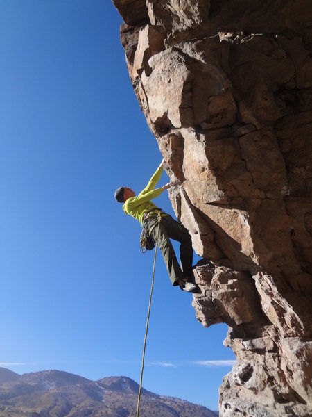 Almost to the first bolt!<br> <br> Photo by Mountain Project contributor Mike Carrington.