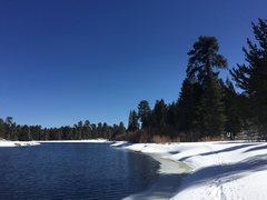 Rock Climbing Photo: Lovely Bluff Lake, winter 2014, a few days after a...
