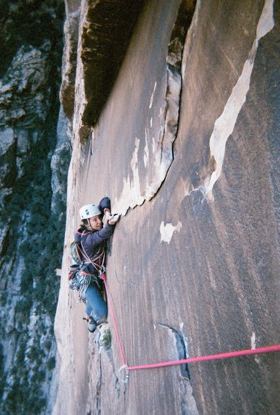 Rock Climbing Photo: Pitch 5 or 6 of Sourmash. Super classic