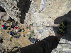 Rock Climbing Photo: looking down Bossy after leading it