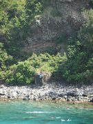 Rock Climbing Photo: Honolua Crack and snorkelers in Honolua Bay from t...
