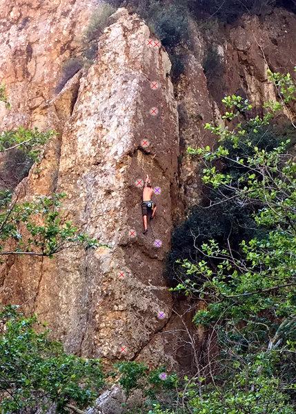 Rock Climbing Photo: Red - Goulara Purple - new bolts  (bolts 2-5 visib...