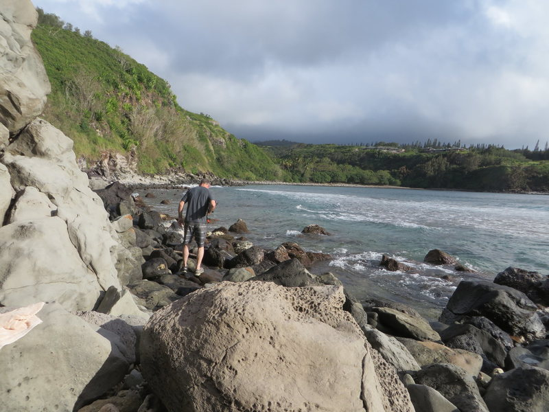 Talus hopping at Honolua Bay.