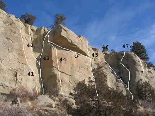 Gregory 14 of 17<br> (41)Prime Rib .9- (42)Barney Rubble .8  (43)Betty Rubble .9 (44)?  (0) Bloody Murder .9 (45)Roof Right .9- (46)Mountaineer's Route .6 (47)Blue in the Face .10a (P) I Don't Care .11a