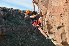 Rock Climbing Photo: Reaching for pocket on Moral Dilemma