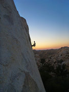 Rock Climbing Photo: Me rapping down Solid Gold as the sun sets.