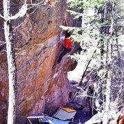 Rock Climbing Photo: J.Peabody hitting the half way mark and starting t...