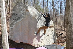 Rock Climbing Photo: Sonia at the topout, look by her left knee to see ...