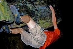 Rock Climbing Photo: feet in the crack, moving to the point