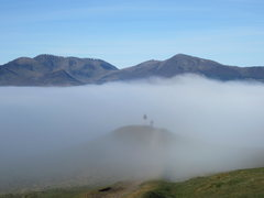 Rock Climbing Photo: Sail and Grisdale MTs and misty men April 2015