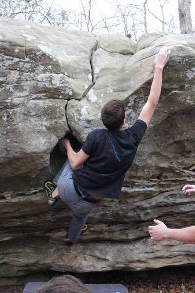 Rock Climbing Photo: Reaching the top sloper, with the other hand on th...