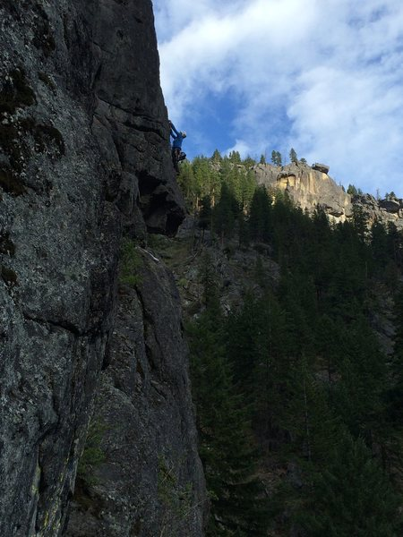 Rock Climbing Photo: Climber on Canary. Photo taken from Logger's Ledge