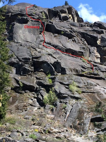 Topo of the way we did the upper pitches of R & D after climbing Cocaine Connection. Cocaine Connection is to the right of the bottom part of the photo. The chimney you're aiming for on the first pitches is labeled.