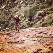 Rock Climbing Photo: Jamie rappelling down The Ramp to finish up the da...
