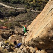 Rock Climbing Photo: BJ Cook after initial bottom section getting ready...